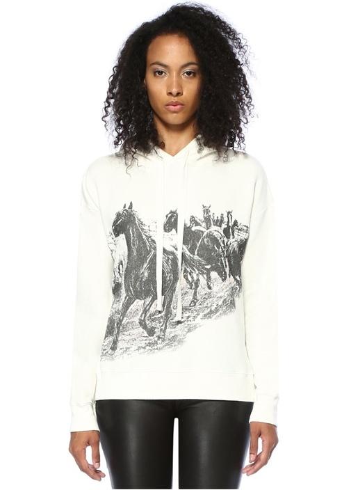 Riders Sammy Beyaz Kapüşonlu Sweatshirt