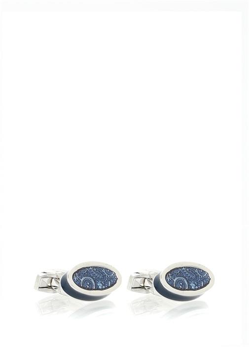 Paisley Ice Lacivert Oval Formlu LogoluKol Düğmes