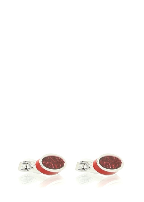 Paisley Ice Bordo Oval Formlu Logolu Kol Düğmesi