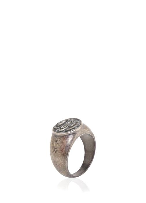Silver Oval Formlu İşlemeli Erkek Yüzük