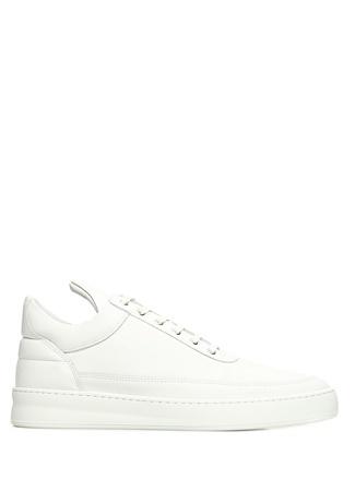 Plain Beyaz Erkek Deri Sneaker