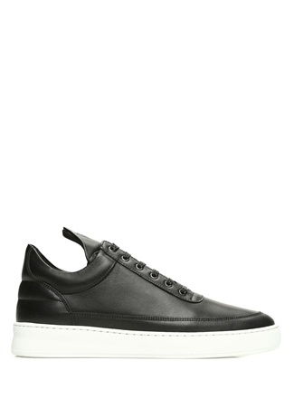 Plain Siyah Erkek Deri Sneaker
