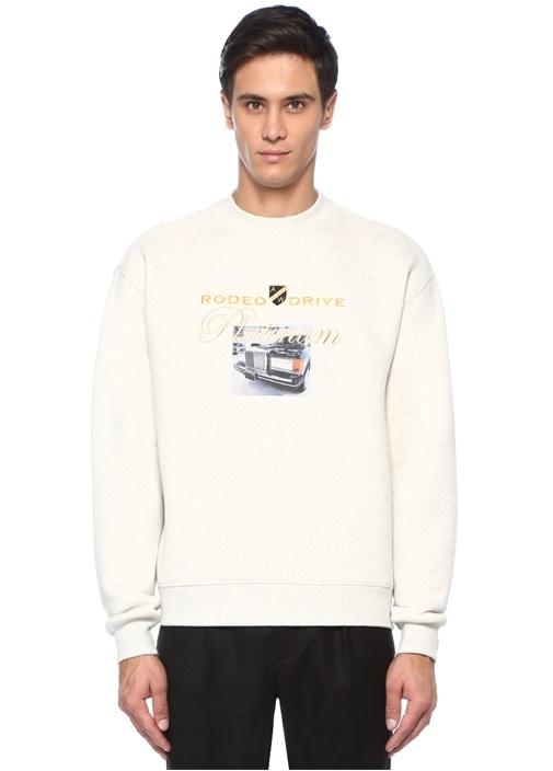 Platinum Ekru Nakışlı Patchli Sweatshirt