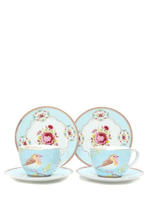 Floral Mavi 2li Çay Fincanı ve Kek Tabağı Seti
