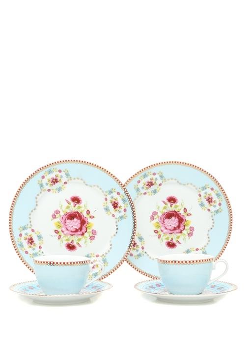 Floral Mavi 2li Kahve Fincanı ve Kek Tabağı Seti