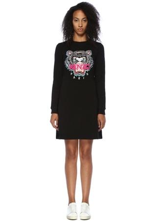 Kenzo Kadın Siyah Kaplan Nakışlı Uzun Kollu Mini Elbise L EU