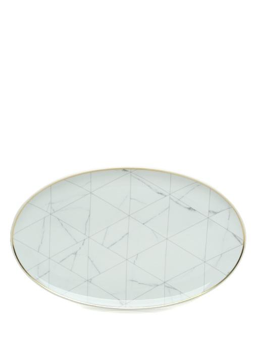 Carrara Large Beyaz Desenli Porselen Servis Tabağı