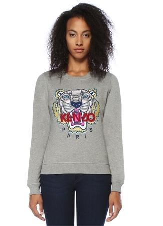 Kenzo Kadın Gri Melanj Klasik Kaplan Nakışlı Sweatshirt S