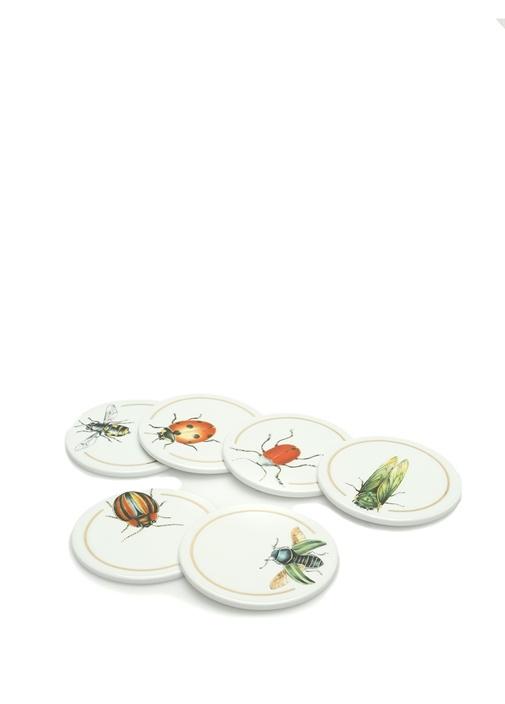 Beyaz Böcek Baskılı 6li Porselen BardakAltlığı
