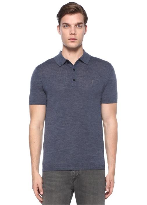 Mode Lacivert Logo Nakışlı Polo Yaka Yün T-shirt
