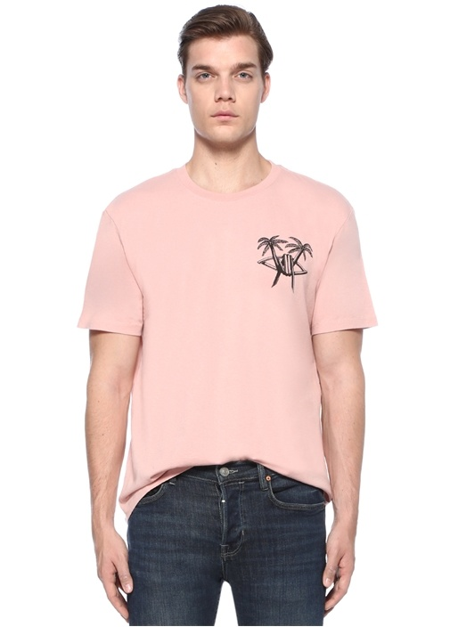 Oversized Fit Pembe Bisiklet Yaka Baskılı T-shirt