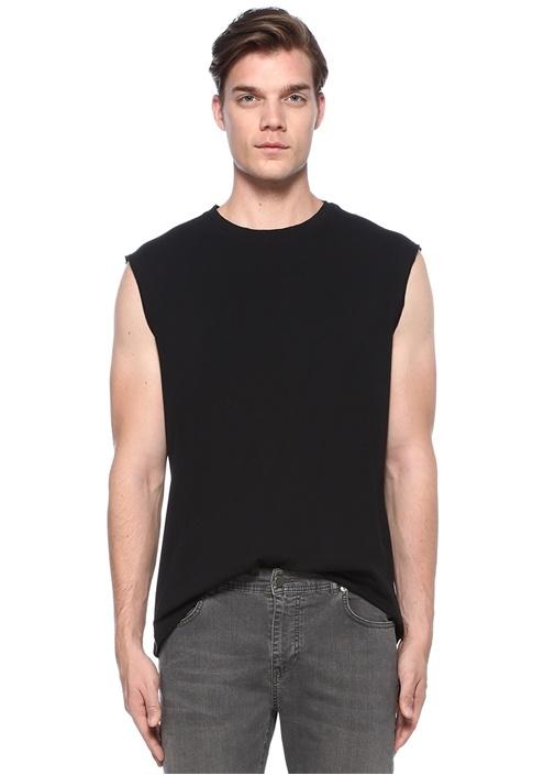 Heton Siyah Yıpratma Detaylı Kısa KolluT-shirt