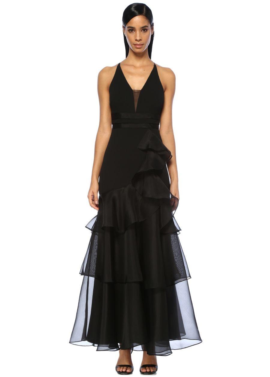 Aidan Mattox Siyah V Yaka İp Askılı Volanlı Maksi Elbise