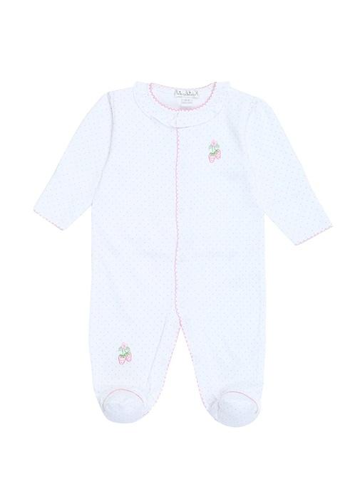 Beyaz Puantiyeli Kız Bebek Tulum