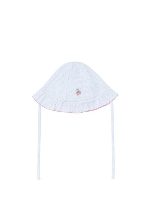 Beyaz Puantiyeli Nakış Detaylı Kız Bebek Şapka