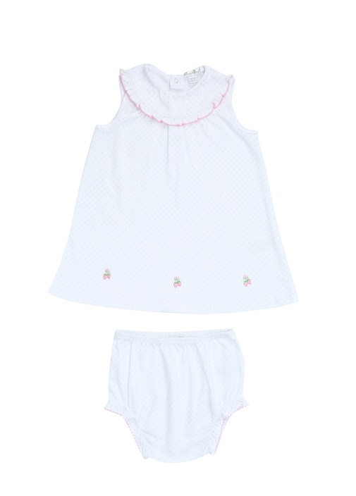 Beyaz Bebe Yaka Puantiyeli Kız Çocuk Elbise