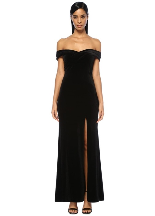 Aıdan Mattox Siyah Omzu Açık Yırtmaçlı Maksi Kadife Elbise – 1960.0 TL