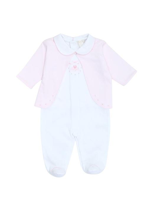Beyaz Pembe İşleme Detaylı Kız Bebek Tulum