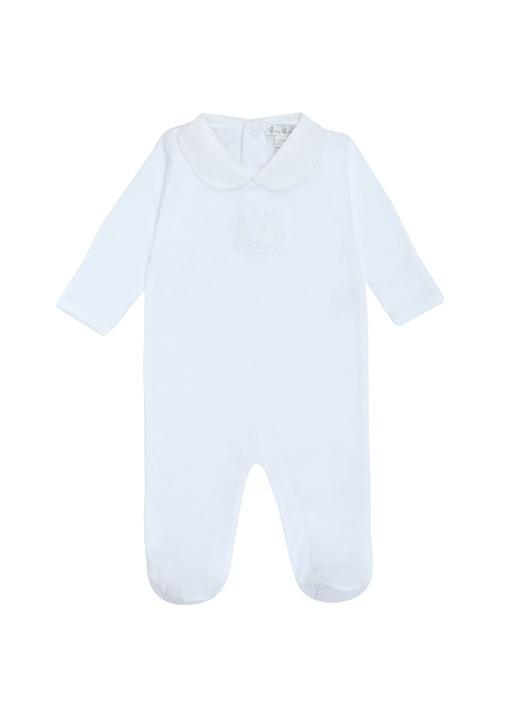 Beyaz Tavşan Nakışlı Kız Bebek Tulum