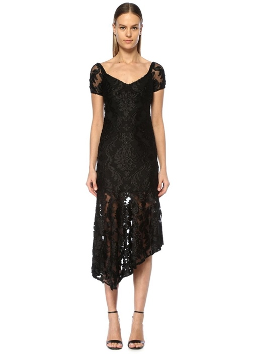 Fleur Siyah V Yaka Nakışlı Asimetrik Midi Elbise