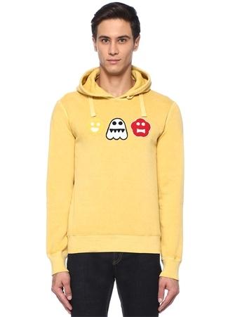 Sarı Kapüşonlu Patchli Sweatshirt