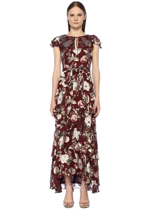 Bordo Çiçekli Kuşaklı Fırfırlı Midi İpek Elbise