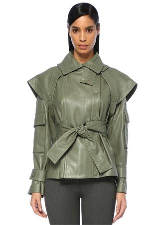 Zimmermann Kadın empest Yeşil Kat Detaylı Kuşaklı Deri Ceket 2 US Ürün Resmi