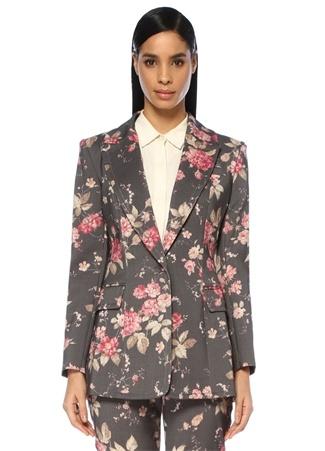 Fleeting Gri Kelebek Yaka Çiçekli Yün Blazer Ceket