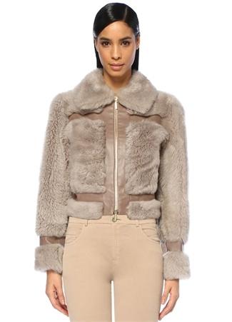 Zimmermann Kadın Fleeting Vizon Deri Şeritli Shearling Ceket Mor 1 US Ürün Resmi