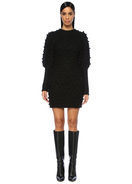 Unbridled Bauble Siyah Balon Kol Mini Triko Elbise