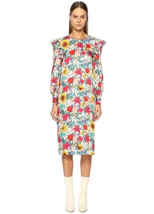Alfa Çiçekli Fırfırlı Uzun Kol Midi İpek Elbise