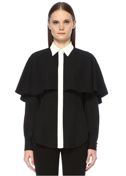 Siyah Beyaz Pelerin Detaylı Gömlek
