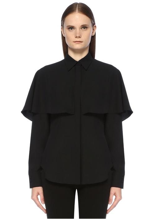 Siyah Pelerin Detaylı Gömlek