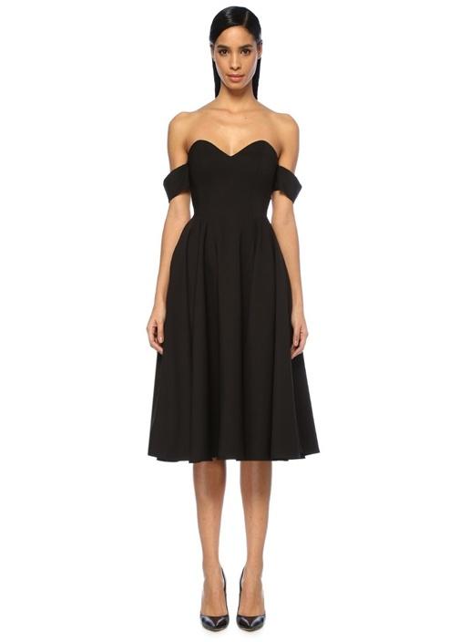 Siyah Kalp Yaka Kol Detaylı Midi Elbise