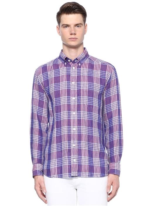 Slim Fit Mor Yakası Düğmeli Ekose Desenli Gömlek