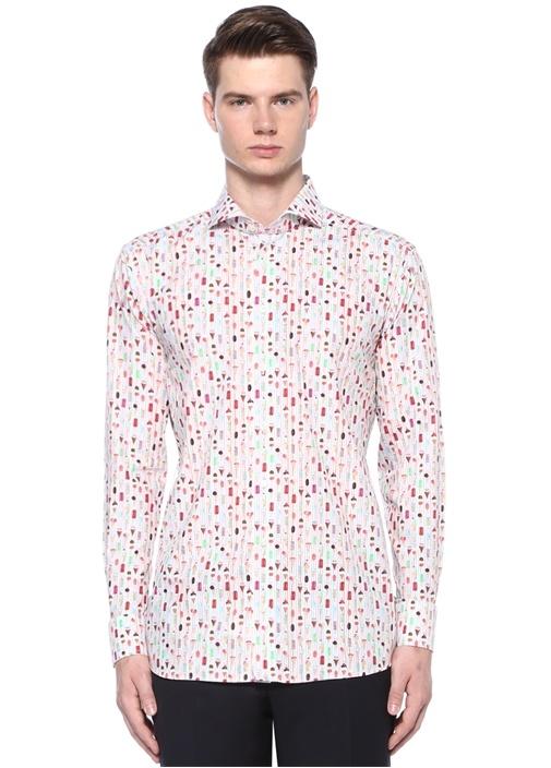 Slim Fit Kesik Yaka Çizgili Baskılı Gömlek