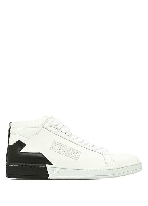 Beyaz Renk Detaylı Logolu Erkek Deri Sneaker