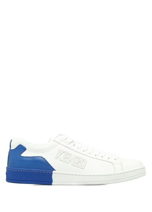 Beyaz Mavi Logolu Erkek Deri Sneaker
