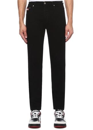 Siyah Normal Bel Logo Patchli Jean Pantolon