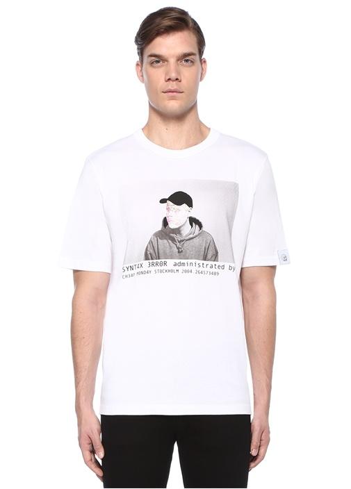 Beyaz Baskılı Logo Patchli Organik Pamuk T-shirt