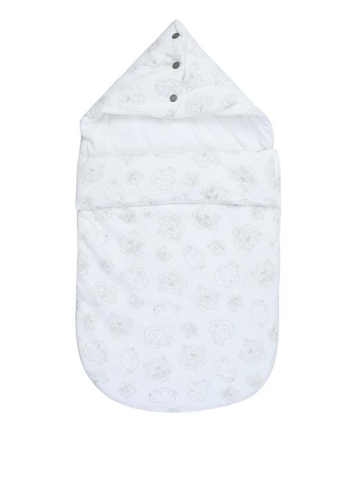 Beyaz Logolu Kapüşonlu Erkek Bebek Uykutulumu
