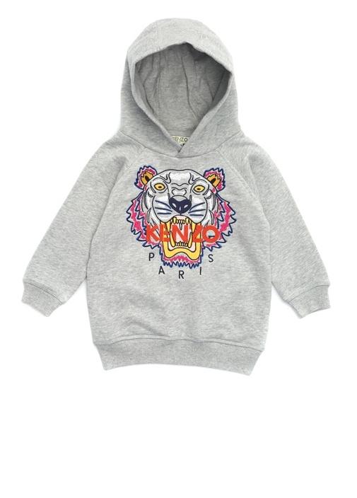 Gri Logo Nakışlı Kız Çocuk Sweatshirt