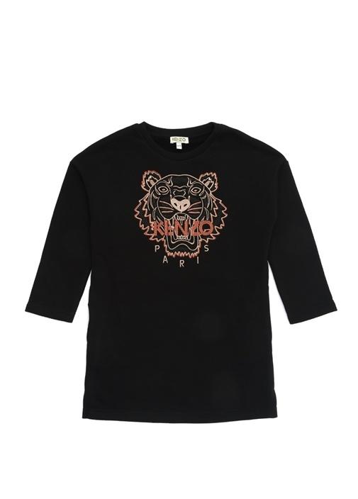 Siyah Logolu Nakışlı Kız Çocuk Elbise