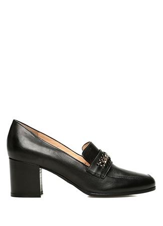 Siyah Gold Zincir Detaylı Topuklu Ayakkabı