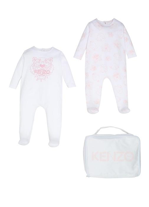 Beyaz Pembe Çantalı Kız Bebek 2li TulumSeti