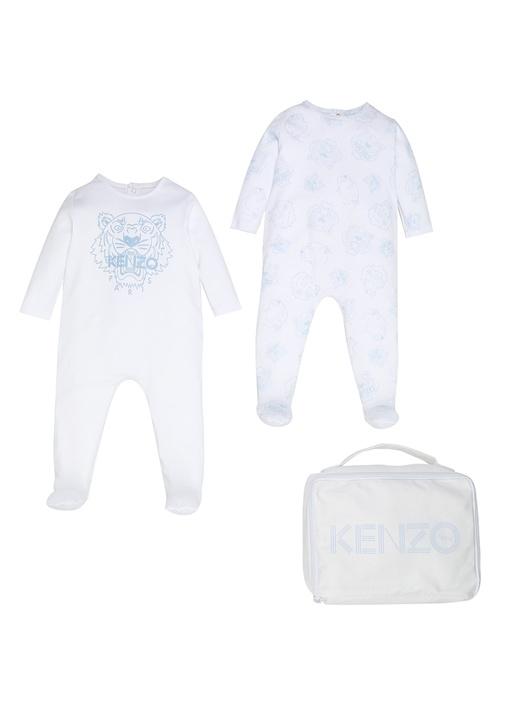 Beyaz Mavi Çantalı Erkek Bebek 2li Tulum Seti
