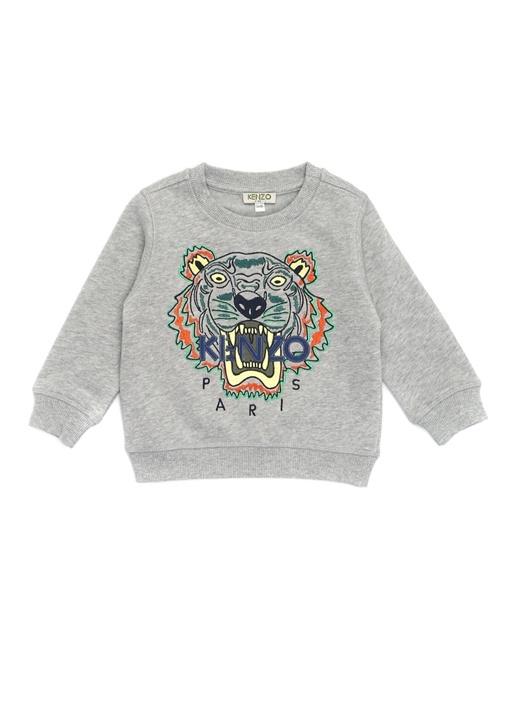 Gri Logolu Nakışlı Erkek Çocuk Sweatshirt