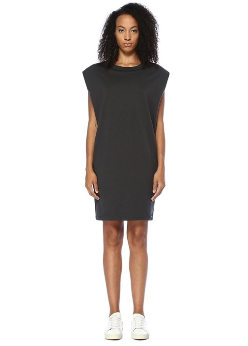 Kick Siyah Vatkalı Sırtı Logolu Mini Elbise