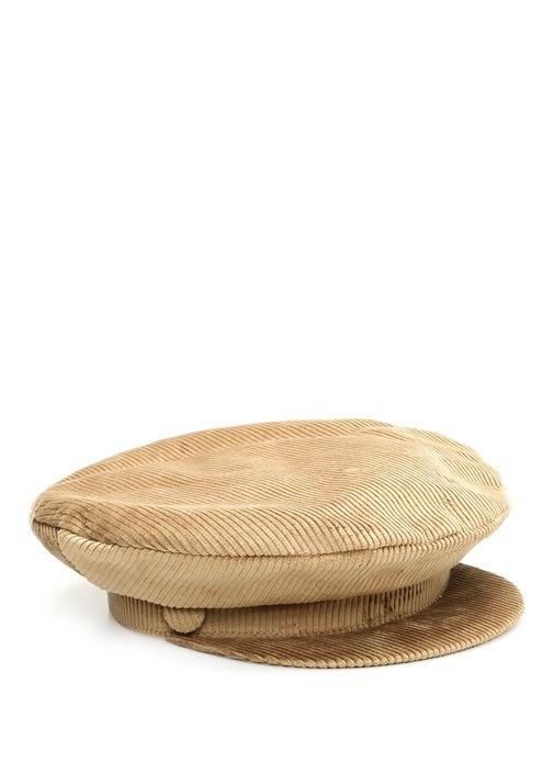 Bej Dokulu Kadın Kadife Şapka