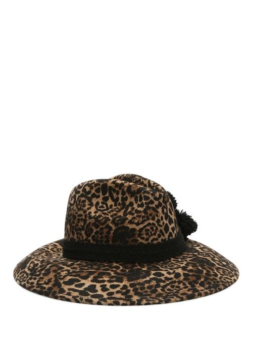 Helene Berman London Leopar Desenli Ponpon Bantlı Kadın Şapka  519.0 TL